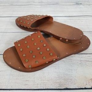 Beek Lovebirds studs brown leather slide sandal 6